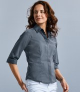 Russell Collection Ladies 34 Sleeve Fitted Poplin Shirt