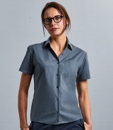 Russell Collection Ladies Short Sleeve Easy Care Poplin Shirt