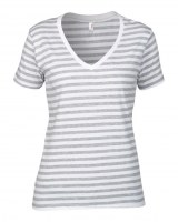 Anvil Ladies Fashion Basic Striped V Neck T-Shirt