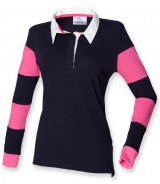 Front Row Ladies Striped Sleeve Rugby Shirt