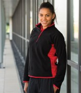 Finden & Hales Ladies Zip Neck Contrast Lightweight Micro Fleece