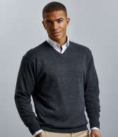 710M: Russell Collection Cotton Acrylic V Neck Sweater