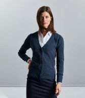 715F: Russell Collection Ladies Cotton Acrylic V Neck Cardigan