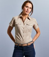 919F: Russell Collection Ladies Short Sleeve Twill Roll Shirt
