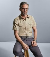 919M: Russell Collection Short Sleeve Twill Roll Shirt