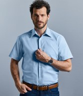 923M: Russell Collection Short Sleeve Tailored Oxford Shirt