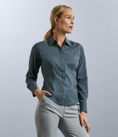 924F: Russell Collection Ladies Long Sleeve Fitted Poplin Shirt