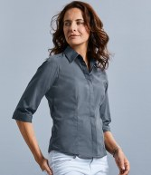 926F: Russell Collection Ladies 3/4 Sleeve Fitted Poplin Shirt