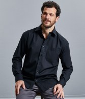 936M: Russell Collection Long Sleeve Easy Care Cotton Poplin Shirt