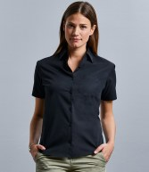 937F: Russell Collection Ladies Short Sleeve Easy Care Cotton Poplin Shirt