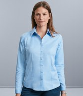 962F: Russell Collection Ladies Long Sleeve Herringbone Shirt