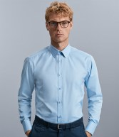 962M: Russell Collection Long Sleeve Herringbone Shirt