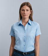 963F: Russell Collection Ladies Short Sleeve Herringbone Shirt