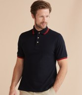 H150: Henbury Contrast Double Tipped Pique Polo Shirt