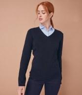 H721: Henbury Ladies Lightweight Cotton Acrylic V Neck Sweater
