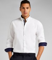 K190: Kustom Kit Long Sleeve Contrast Premium Oxford Button Collar Shirt