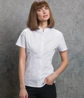 K260: Kustom Kit Ladies Short Sleeve Mandarin Collar Shirt