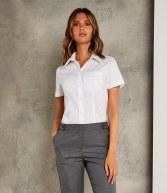 K719: Kustom Kit Ladies Short Sleeve Corporate Oxford Shirt with Pocket