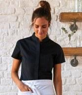 K736: Kustom Kit Bargear® Ladies Short Sleeve Mandarin Collar Shirt