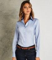 K789: Kustom Kit Ladies Long Sleeve Contrast Premium Oxford Shirt
