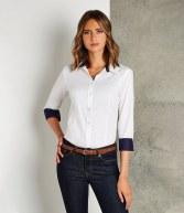 K790: Kustom Kit Ladies Long Sleeve Contrast Premium Oxford Shirt