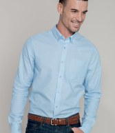 KB516: Kariban Long Sleeve Striped Oxford Shirt
