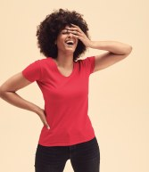 SS702: Fruit of the Loom Lady Fit Value V Neck T-Shirt